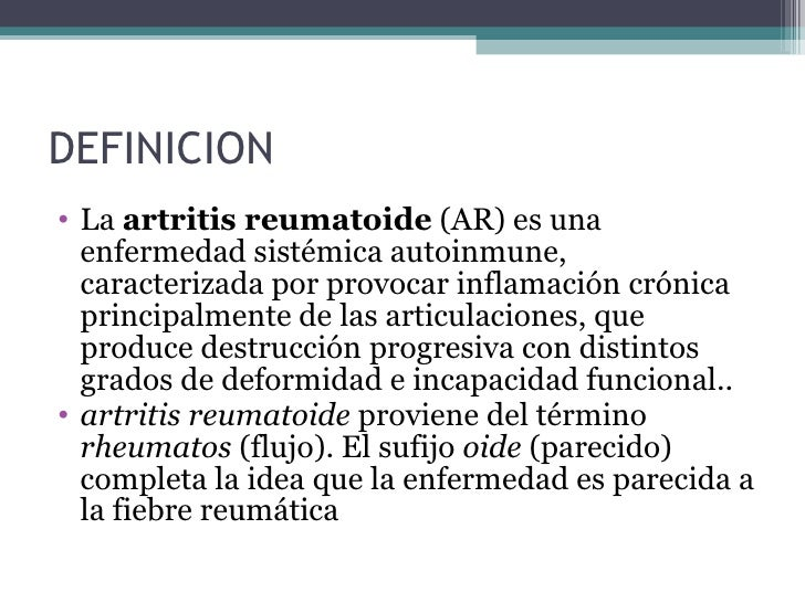 Artritis reumatoide final for Definicion de gastronomia pdf