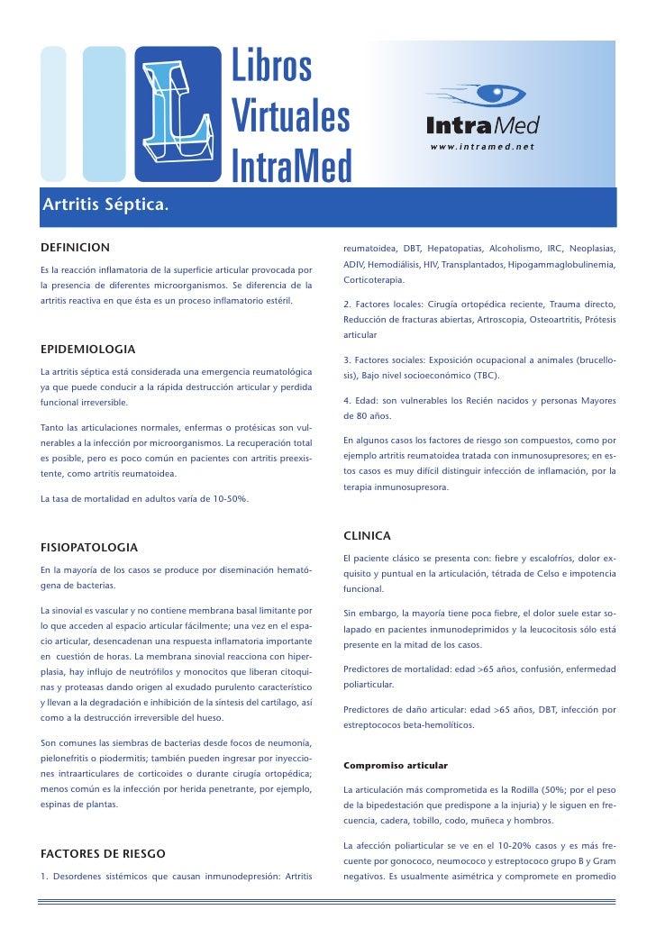 Artritis Séptica.  DEFINICION                                                                 reumatoidea, DBT, Hepatopati...