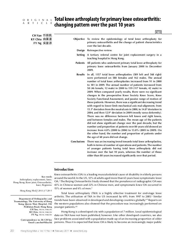 Artroplastica totale del ginocchio per il trattamento dell'osteoartrite del ginocchio primaria  variazione delle caratteristiche dei pazienti nel corso degli ultimi 10 anni