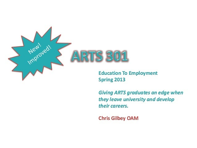 Education To Employment Spring 2013 Giving ARTS graduates an edge when they leave university and develop their careers. Ch...