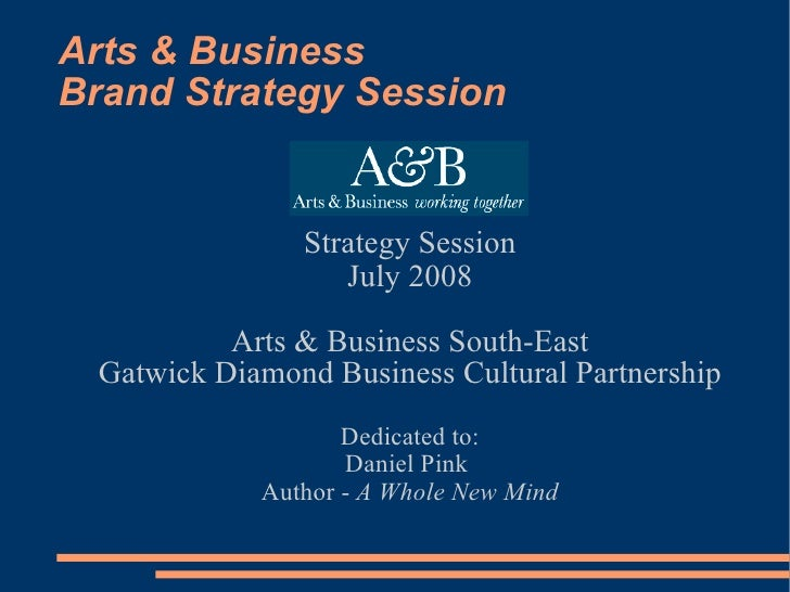 Arts & Business Brand Strategy Session <ul><ul><li>Strategy Session </li></ul></ul><ul><ul><li>July 2008 </li></ul></ul><u...