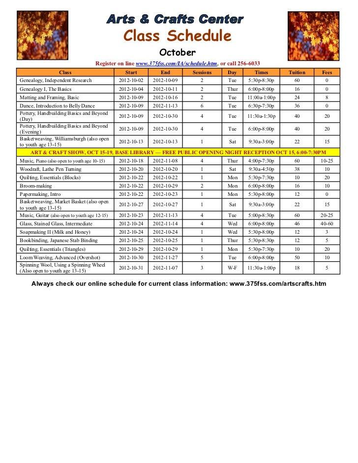 Class Schedule                                                               October                                      ...