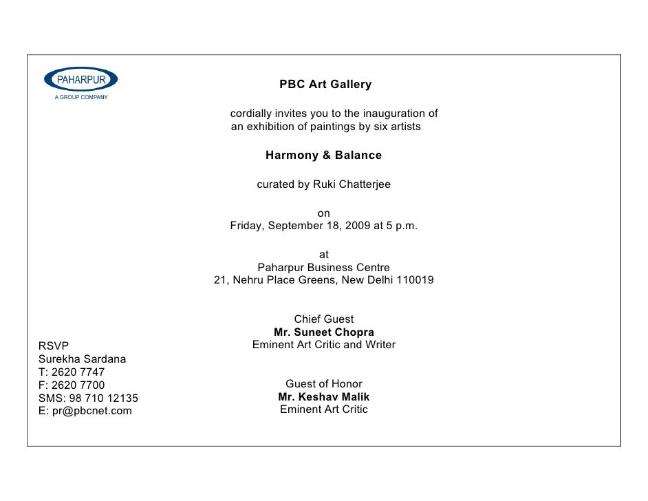 PBC Art Gallery                        cordially invites you to the inauguration of                       an exhibition of...