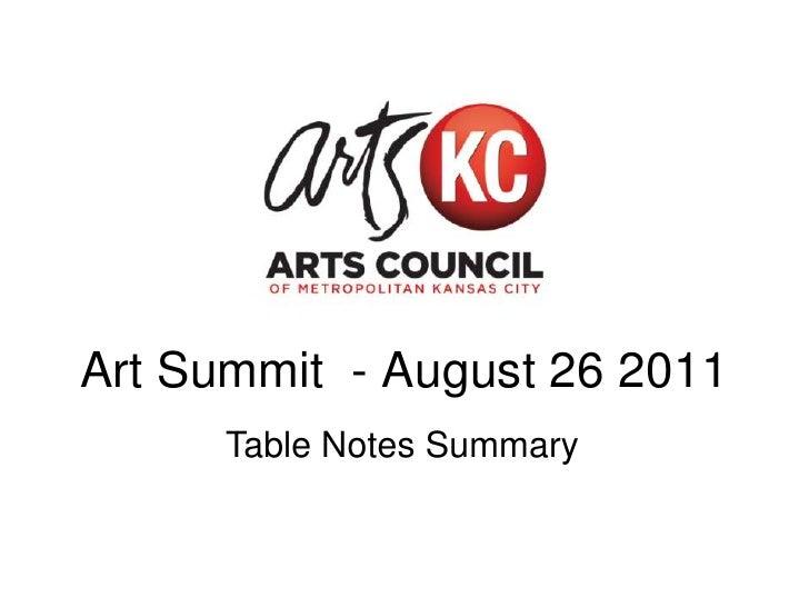 Arts Summit: Table Notes Summary