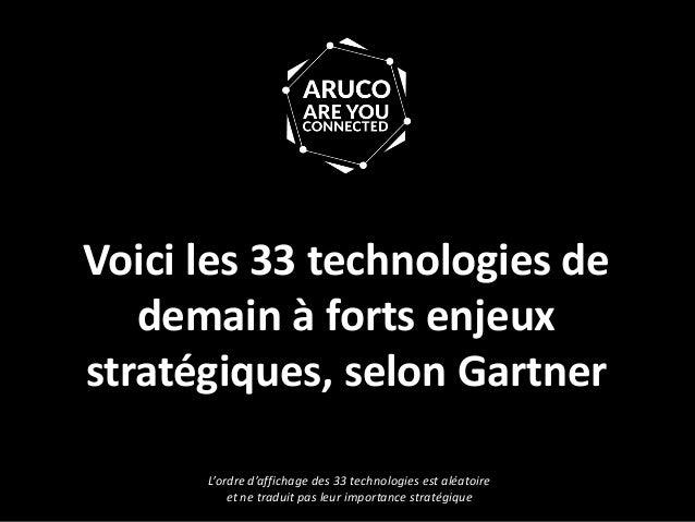 Voici les 33 technologies de demain à forts enjeux stratégiques, selon Gartner L'ordre d'affichage des 33 technologies est...
