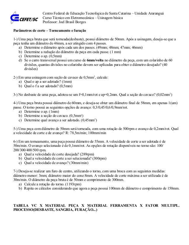 Centro Federal de Educação Tecnológica de Santa Catarina – Unidade Araranguá Curso Técnico em Eletromecânica – Usinagem bá...