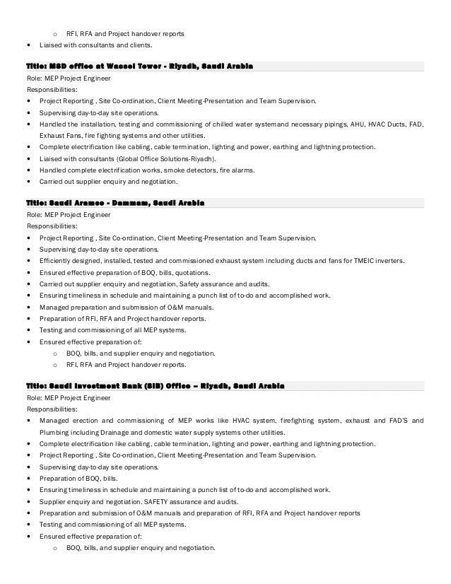 mep engineer resumes