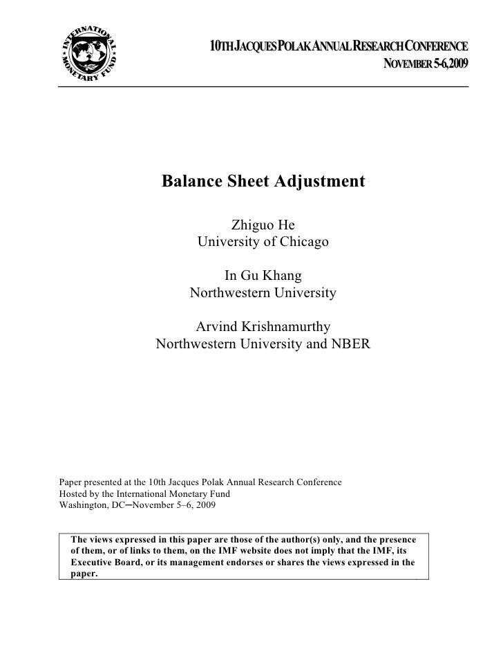 Balance Sheet Adjustment