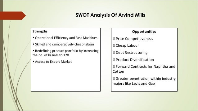 pest analysis of arvind mills Csf for arvind mills strengths operational efficiency and fast machines skilled from marketing 101 at management development institute.