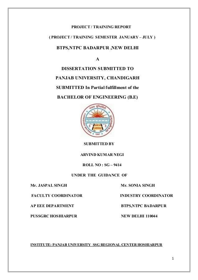 PROJECT / TRAINING REPORT ( PROJECT / TRAINING SEMESTER JANUARY – JULY )  BTPS,NTPC BADARPUR ,NEW DELHI A DISSERTATION SUB...