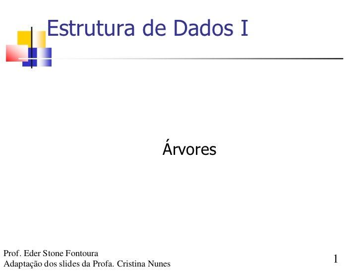 Estrutura de Dados I                                          ÁrvoresProf. Eder Stone FontouraAdaptação dos slides da Prof...