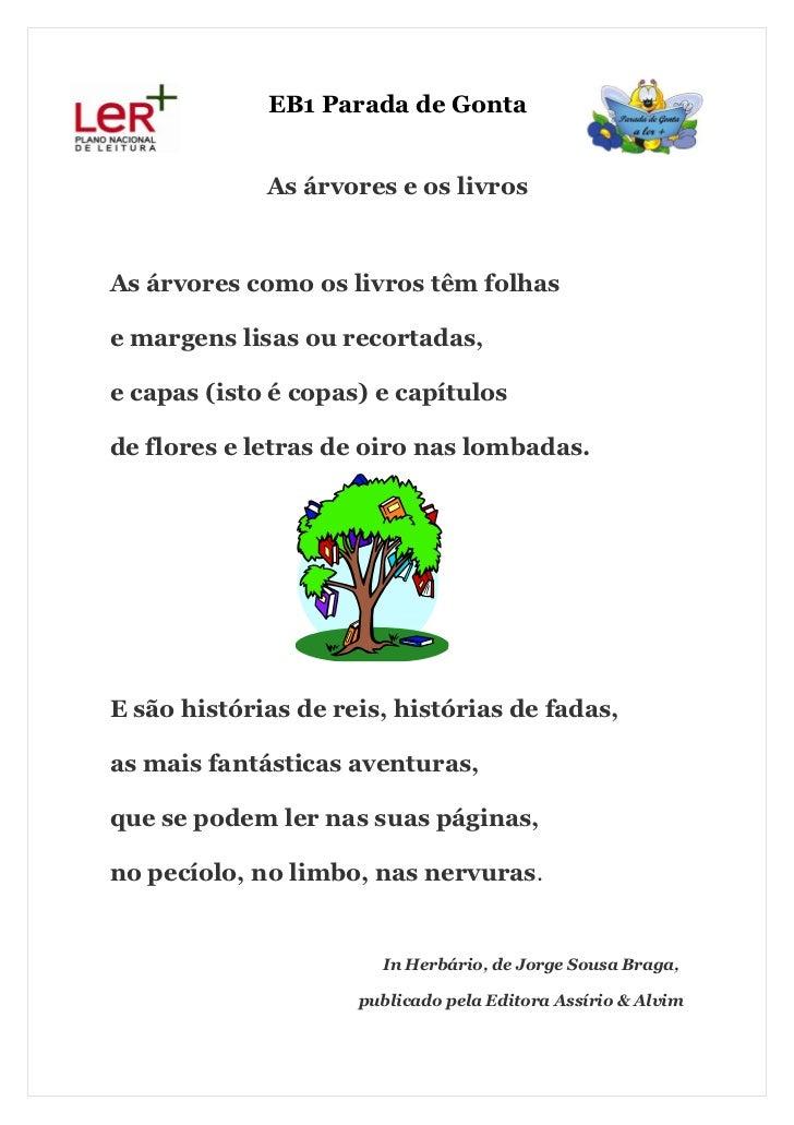 EB1 Parada de Gonta             As árvores e os livrosAs árvores como os livros têm folhase margens lisas ou recortadas,e ...