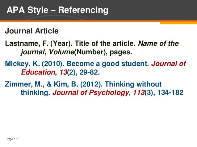 apa style for journal articles online