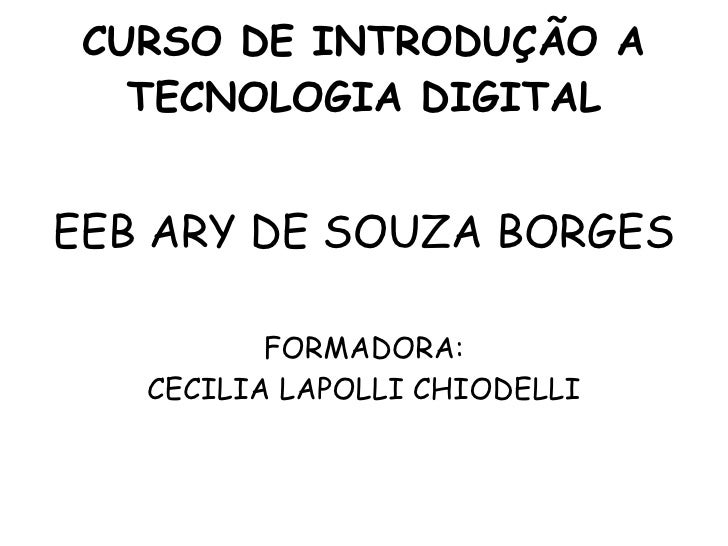 CURSO DE INTRODUÇÃO A TECNOLOGIA DIGITAL EEB ARY DE SOUZA BORGES FORMADORA: CECILIA LAPOLLI CHIODELLI