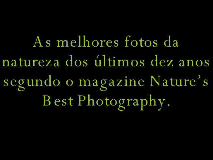 As melhores fotos da natureza dos últimos dez anos segundo o magazine Nature's Best Photography.