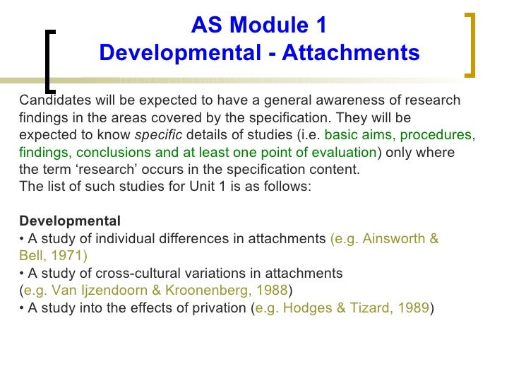 AS Module 1 Developmental - Attachments <ul><li>Candidates will be expected to have a general awareness of research </li><...