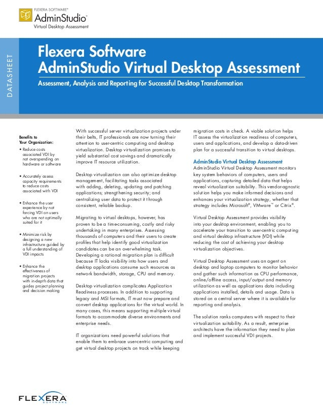 Flexera SoftwareD ATA S H E E T                            AdminStudio Virtual Desktop Assessment                         ...