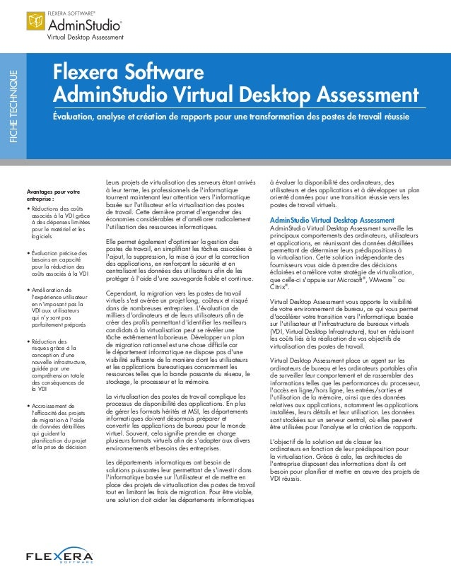 Flexera Software AdminStudio Virtual Desktop Assessment Datasheet