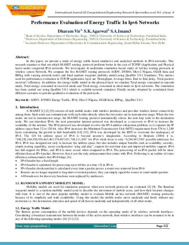 I nternational Journal Of Computational Engineering Research (ijceronline.com) Vol. 2 Issue. 8            Performance Eval...
