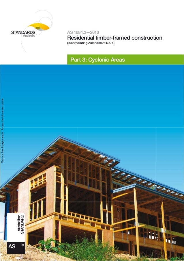 As 1684.3 2010 residential timber-framed construction cyclonic areas