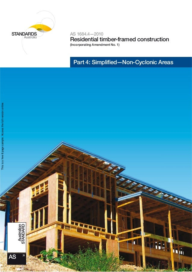 As 1684 4 2010 Residential Timber Framed Construction