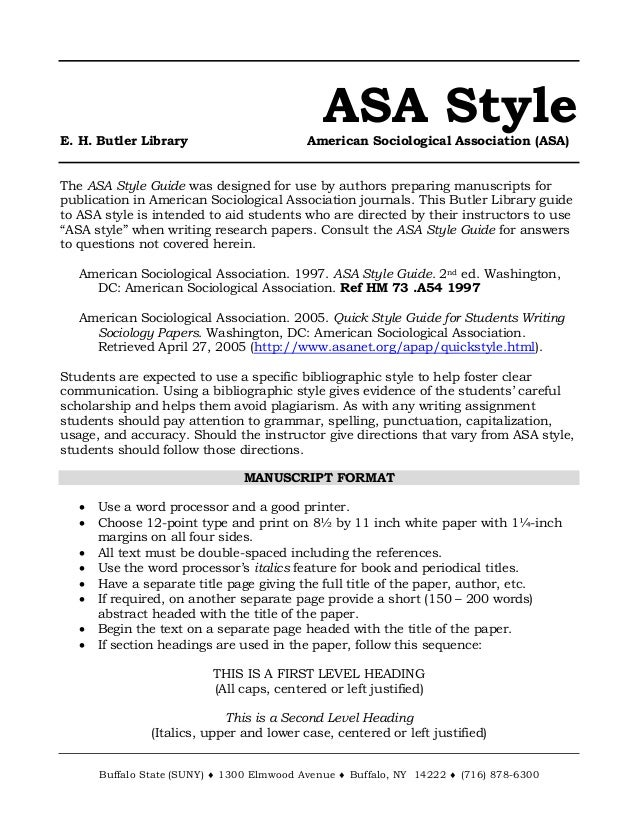 ASA Style E. H. Butler Library American Sociological Association (ASA ...