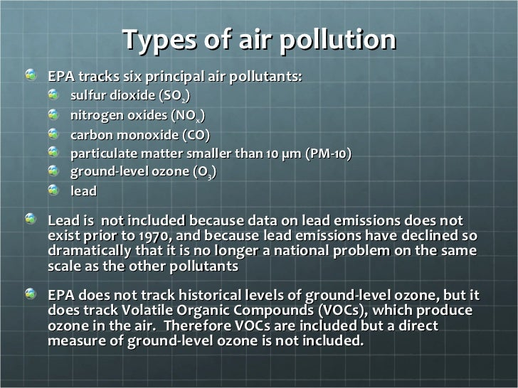 types of air pollution essay Air pollution essays what causes air pollution air pollution results mainly from the incomplete combustion of several fuels, such as coal, petrol and wood there are many types of pollution ranging from air to land it is a major problem in florida as well as the entire world.