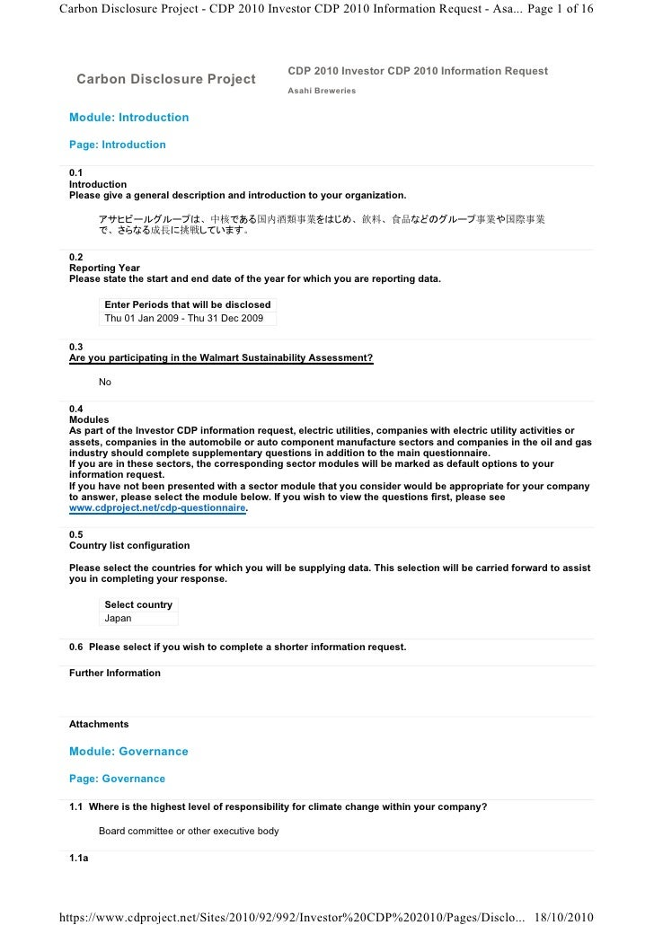 Carbon Disclosure Project - CDP 2010 Investor CDP 2010 Information Request - Asa... Page 1 of 16                          ...