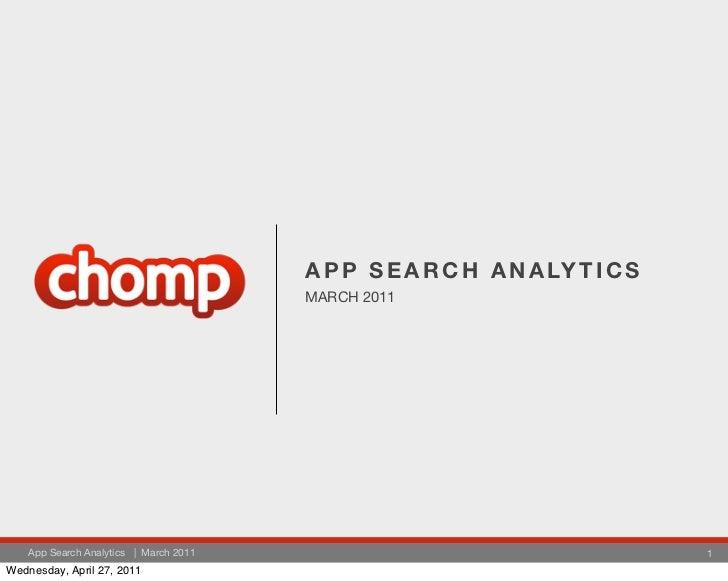 A P P S E A R C H A N A LY T I C S                                        MARCH 2011    App Search Analytics | March 2011 ...