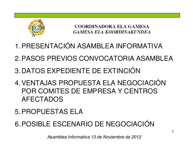 1. PRESENTACIÓN ASAMBLEA INFORMATIVA2. PASOS PREVIOS CONVOCATORIA ASAMBLEA3. DATOS EXPEDIENTE DE EXTINCIÓN4. VENTAJAS PROP...
