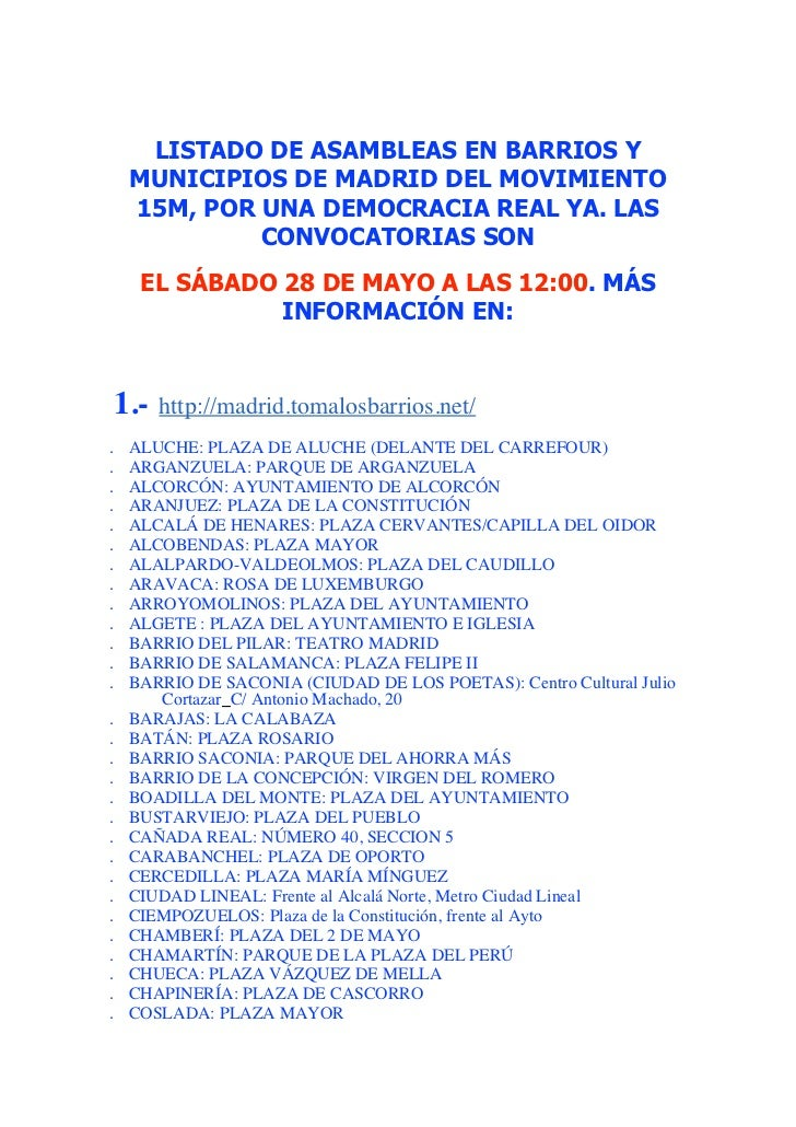 LISTADO DE ASAMBLEAS EN BARRIOS Y    MUNICIPIOS DE MADRID DEL MOVIMIENTO    15M, POR UNA DEMOCRACIA REAL YA. LAS          ...