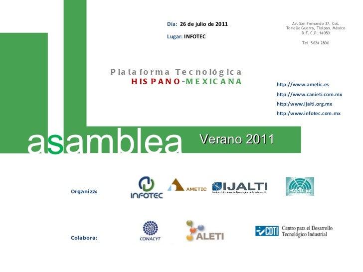 Presentación Estratégica de la Plataforma Tecnológica Hispano-Mexicana