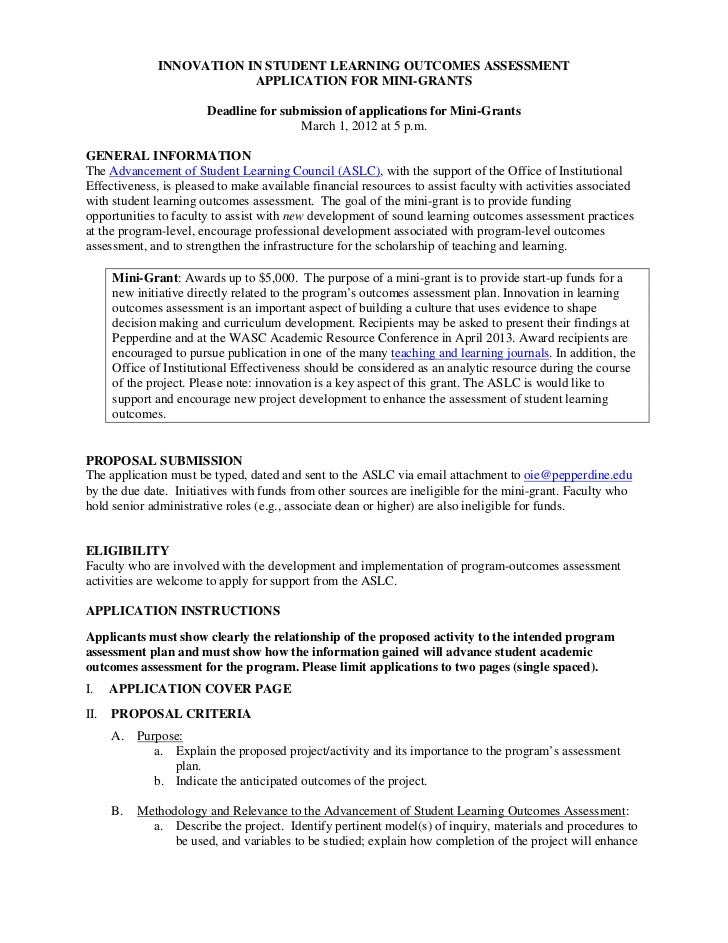 INNOVATION IN STUDENT LEARNING OUTCOMES ASSESSMENT                          APPLICATION FOR MINI-GRANTS                   ...