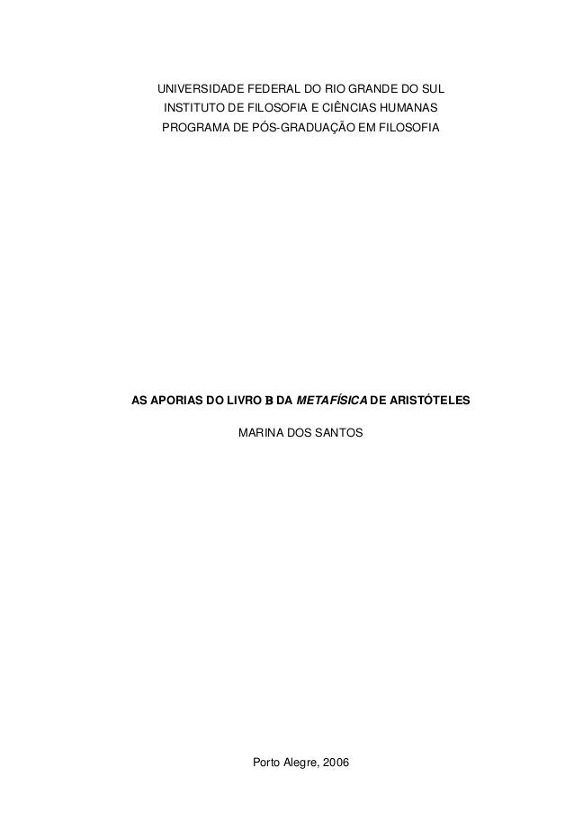 As aporias do livro b da metafísica de aristóteles