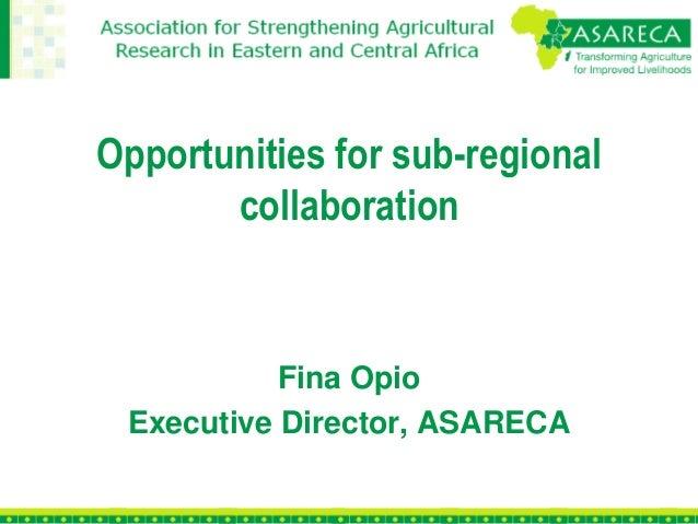 Opportunities for sub-regional collaboration Fina Opio Executive Director, ASARECA