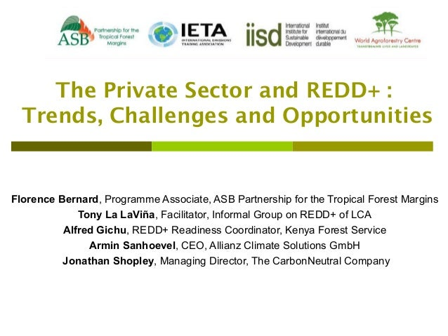 The Private Sector and REDD+ :    Trends, Challenges and Opportunities  Florence Bernard, Programme Associate, ASB Partner...