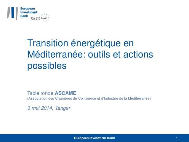 Transition énergétique en Méditerranée: outils et actions possibles Table ronde ASCAME (Association des Chambres de Commer...