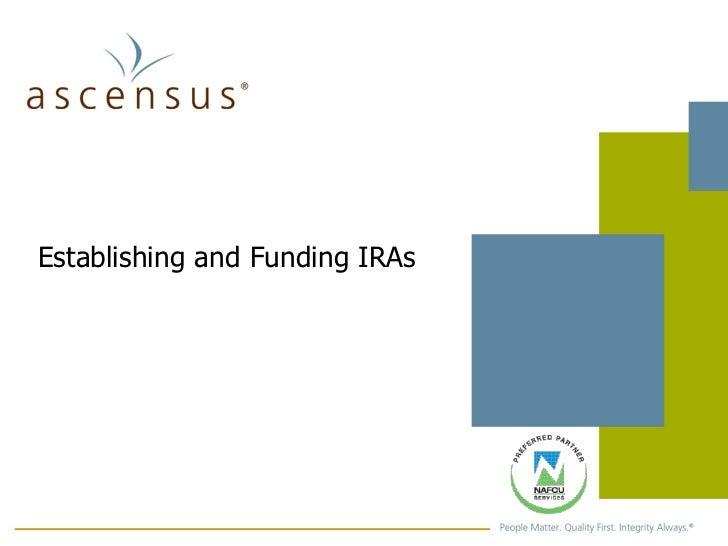 Establishing and Funding IRAs