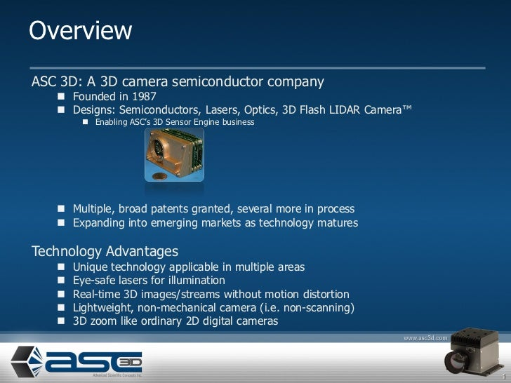OverviewASC 3D: A 3D camera semiconductor company    Founded in 1987    Designs: Semiconductors, Lasers, Optics, 3D Flas...