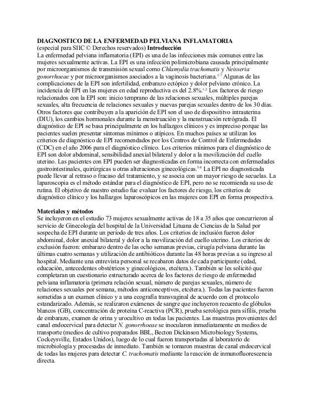 DIAGNOSTICO DE LA ENFERMEDAD PELVIANA INFLAMATORIA(especial para SIIC © Derechos reservados) IntroducciónLa enfermedad pel...
