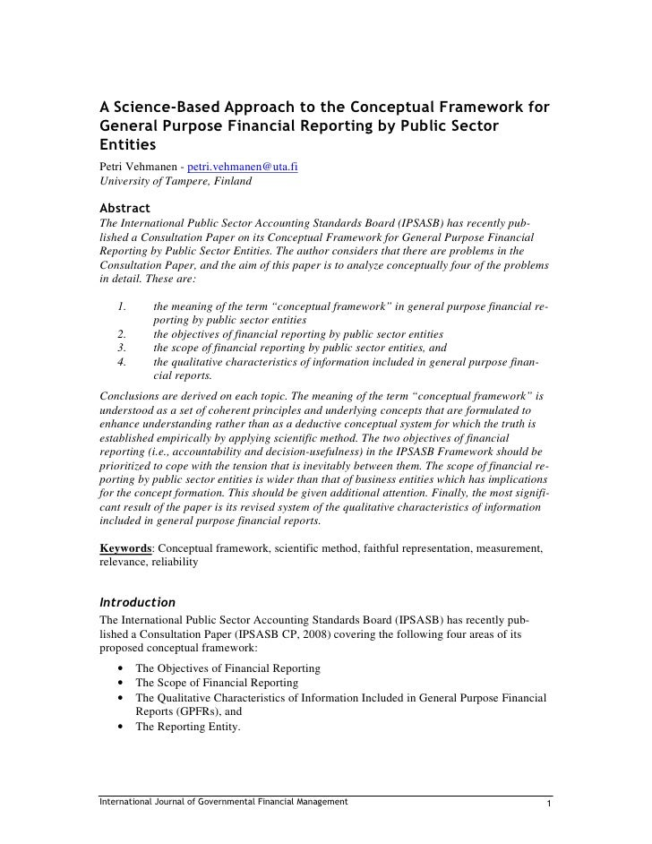 A Science-Based Approach to the Conceptual Framework for General Purpose Financial Reporting by Public Sector Entities Pet...