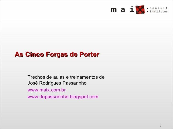 As Cinco Forças de Porter Trechos de aulas e treinamentos de José Rodrigues Passarinho www.maix.com.br   www.dopassarinho....