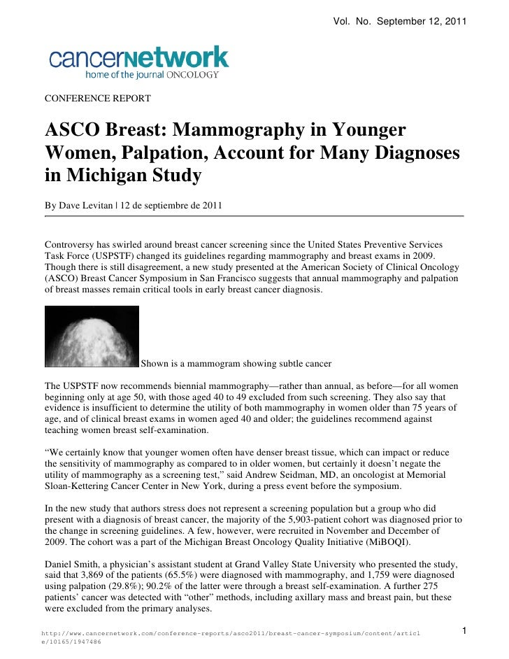 Asco breast--mammography-in-younger-women--palpation--account-for-many-diagnoses-in-michigan-study