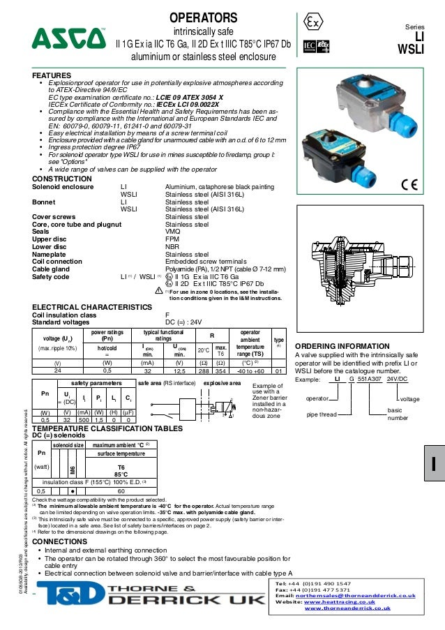 OPERATORS  Series  intrinsically safe II 1G Ex ia IIC T6 Ga, II 2D Ex t IIIC T85°C IP67 Db aluminium or stainless steel en...