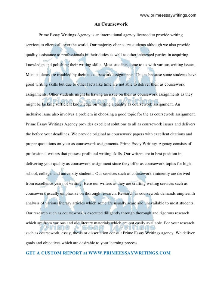 AS Coursework | Prime Essay Writings -Starting at $9.5/Page