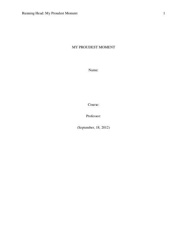Essay proudest moment