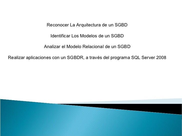 Reconocer La Arquitectura de un SGBD                   Identificar Los Modelos de un SGBD                Analizar el Model...