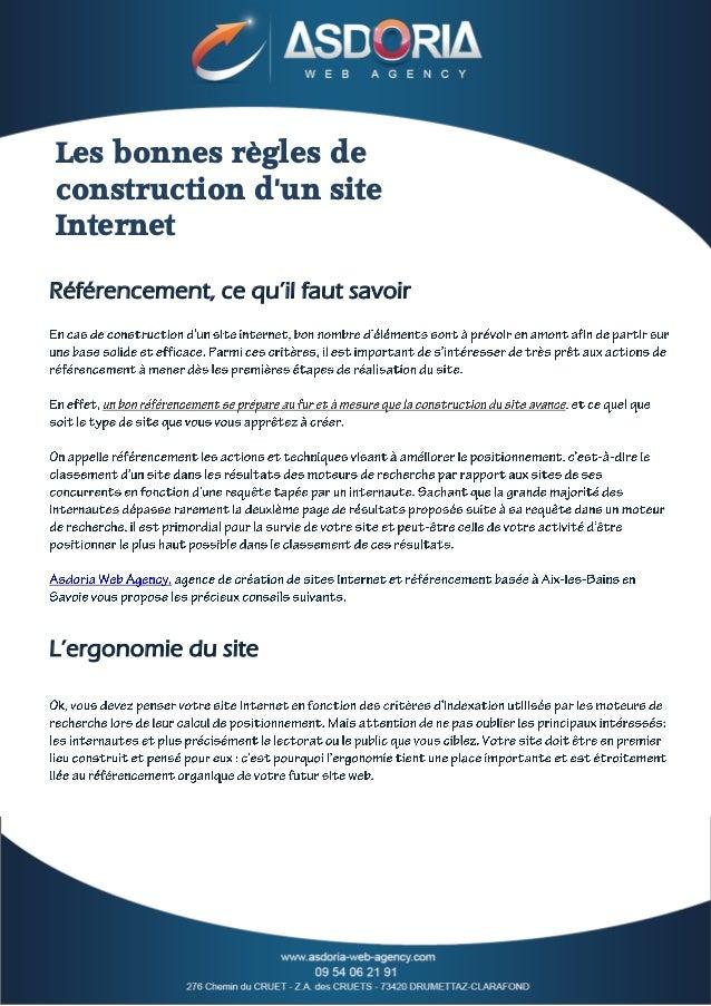 Les bonnes règles de construction d'un site Internet Référencement, ce qu'il faut savoir  L'ergonomie du site