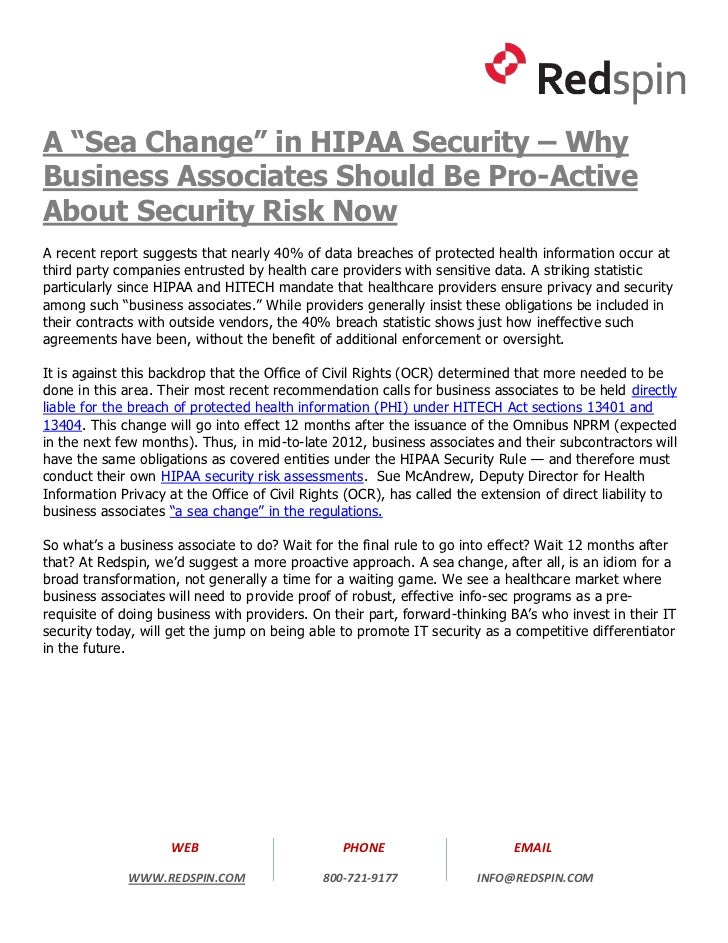 "A ""Sea Change"" in HIPAA Security – Why Business Associates Should Be Pro-Active About Security Risk Now"