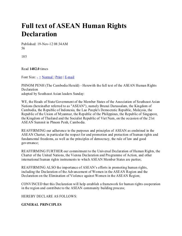 Full text of ASEAN Human RightsDeclarationPublished: 19-Nov-12 08:34AM56185Read 1482.0 timesFont Size: - + Normal | Print ...
